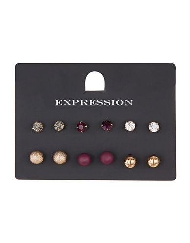 Expression Six Pack  Pave And Sphere Stud Set-ASSORTED-One Size