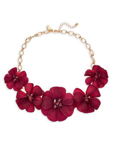 Expression Five Flower Statement Necklace-PURPLE-One Size