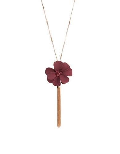 Expression Rubberized Flower Tassel Pendant Necklace-PURPLE-One Size