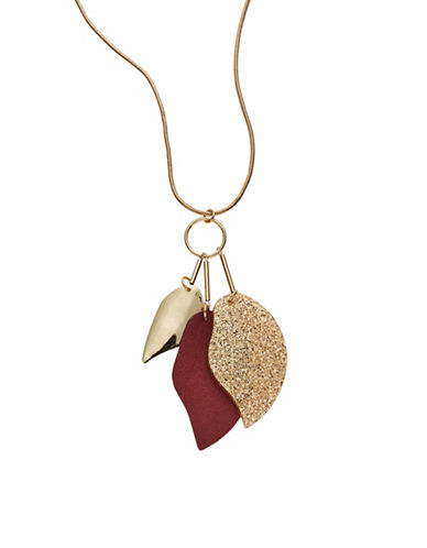 Expression Three Dangle Leaf Pendant Necklace-PURPLE-One Size