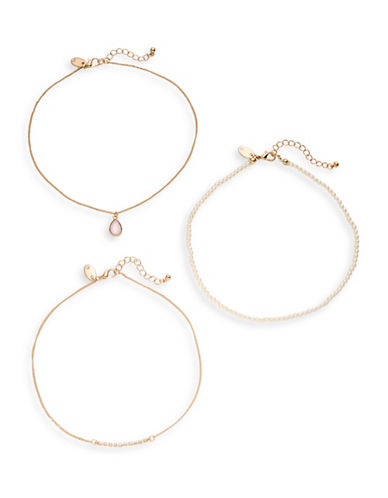 Expression Three-Piece Mixed Mini Choker Necklace Set-BEIGE-One Size