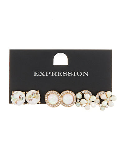 Expression Three-Pack Flower Stud Earrings-GOLD-One Size