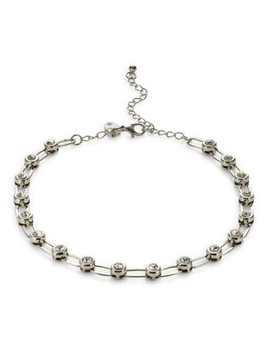 Expression Crystal Linked Ring Choker Necklace-SILVER-One Size
