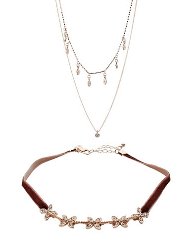 Expression Velvet Flower Choker and Two-Row Necklace Set-PINK-One Size