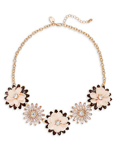 Expression Sequin and Faceted Stone Flower Necklace-PINK-One Size