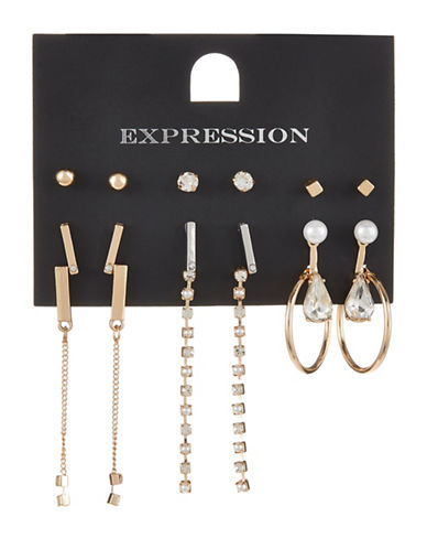 Expression Nine-Pack Assorted Earrings Set-GOLD-One Size