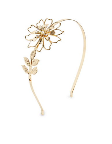 Expression Floral and Faux Pearl Headband-BEIGE-One Size