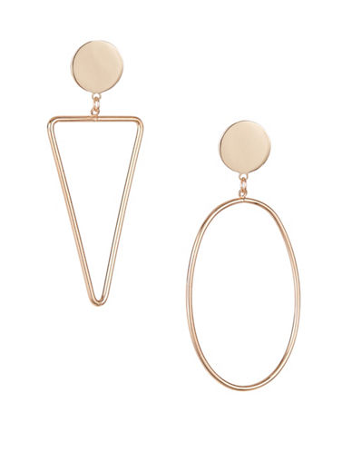 Expression Triangle and Oval Drop Earrings-GOLD-One Size