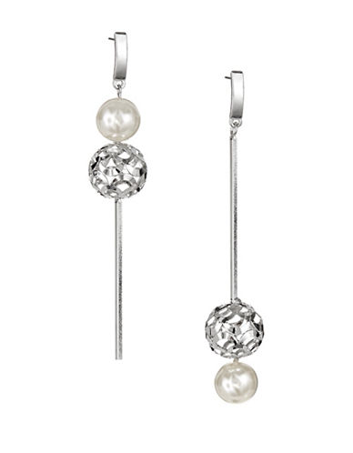 Expression Bead and Pearl Drop Earrings-WHITE-One Size