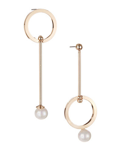 Expression Asymmetric Bar Drop Earrings-WHITE-One Size