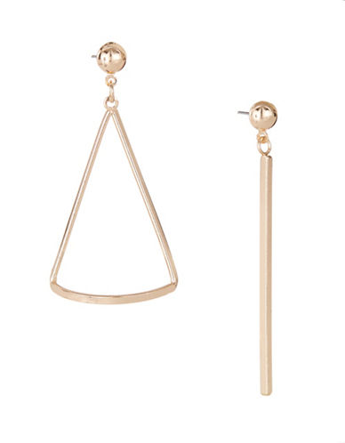 Expression Triangle and Bar Earrings-GOLD-One Size