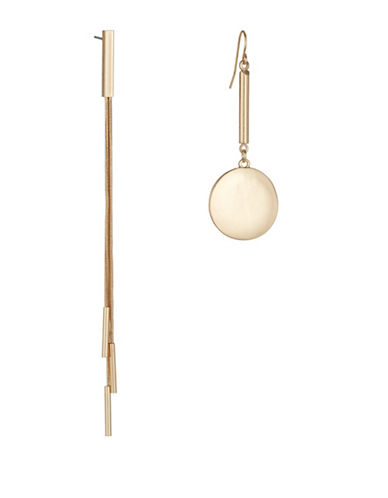 Expression Tassle and Disc Dangle Drop Earrings-GOLD-One Size