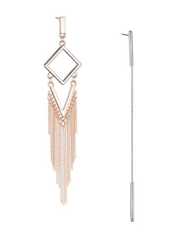 Expression Asymmetric Dangling Chain Earrings-TWO TONE-One Size