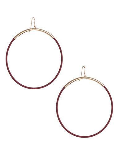 Expression Painted Drop Hoop Earrings-PURPLE-One Size