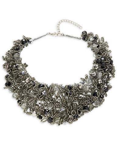 Expression Mixed Media Bib Necklace-BLACK-One Size