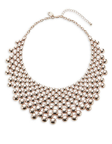 Expression Multi-Circle Half Dome Bib Necklace-ROSE GOLD-One Size