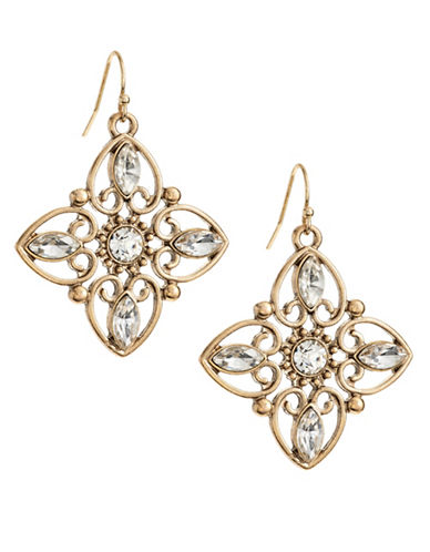 Expression Inner Navette Stone Flower Earrings-GOLD-One Size