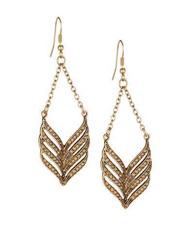 Expression Chevron Chandelier Earrings-ORANGE-One Size