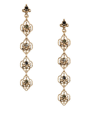 Expression Four Filigree Teardrop Earrings-BLACK-One Size