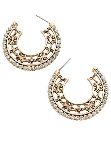 Expression Flat Filigree Open Hoop Stones Hoop Earrings-GOLD-One Size