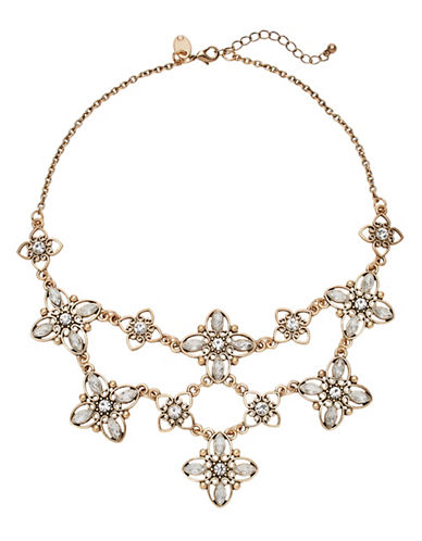 Expression Floral Statement Necklace-GOLD-One Size