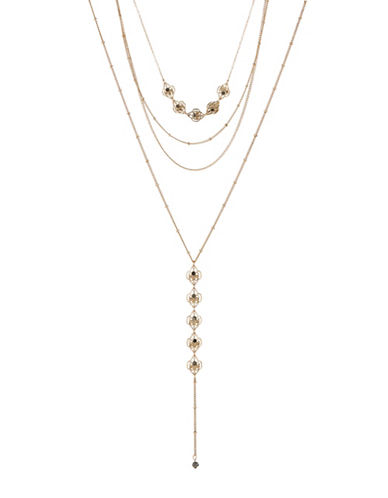 Expression Two-Row Filigree Teardrop Choker Necklace Set-GOLD-One Size