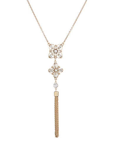 Expression Double Flower Tasselled Pendant Necklace-GOLD-One Size