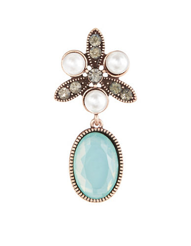 Expression Oval Stone and Pearl Brooch-BLUE-One Size