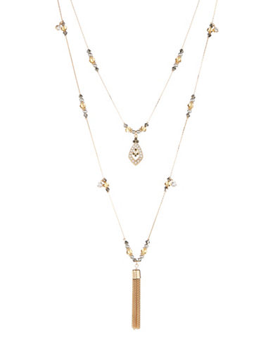 Expression Two-Row Mixed-Bead Drop Necklace-GOLD-One Size