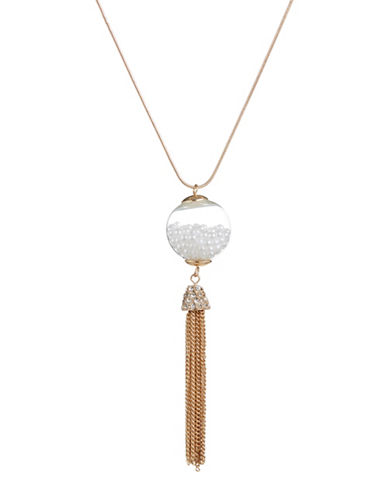 Expression Faux Pearl Tassel Globe Necklace-PEARL-One Size