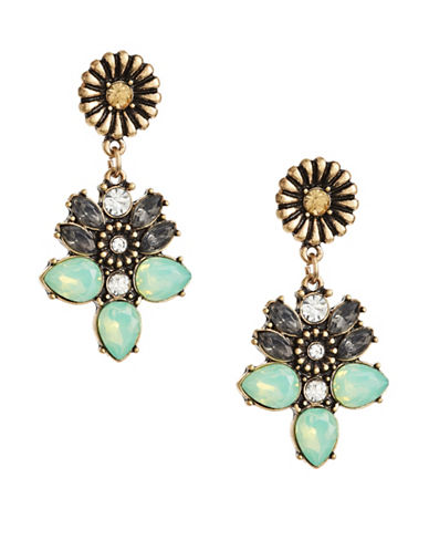 Expression Navette and Stone Drop Earrings-GREEN-One Size