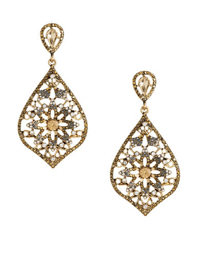 Expression Large Crystal Stones Teardrop Earrings-GOLD-One Size