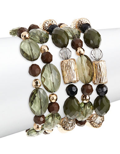 Expression Five-Pack Cylinder Bead Bracelets-GREEN-One Size