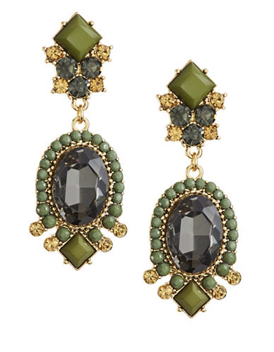 Expression Faceted Stone Drop Earrings-GREEN-One Size