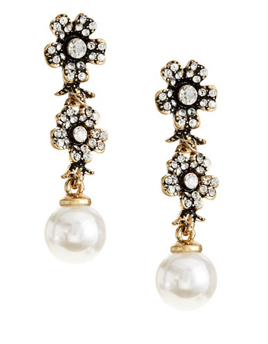 Expression Two-Flower Faux Pearl Drop Earrings-PEARL-One Size