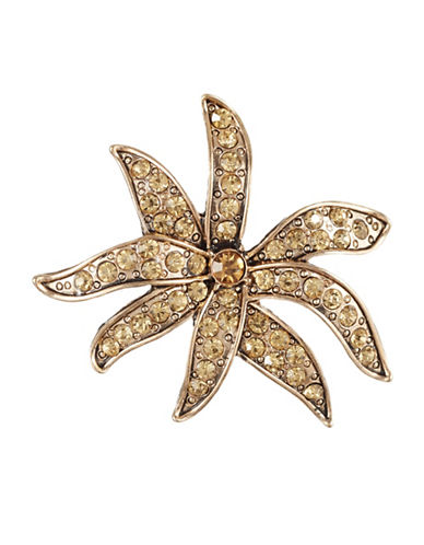 Expression Floral Pave Brooch-ORANGE-One Size