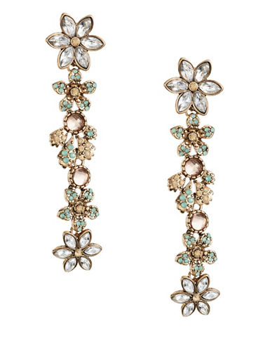 Expression Crystal Flower Drop Earrings-GREEN-One Size