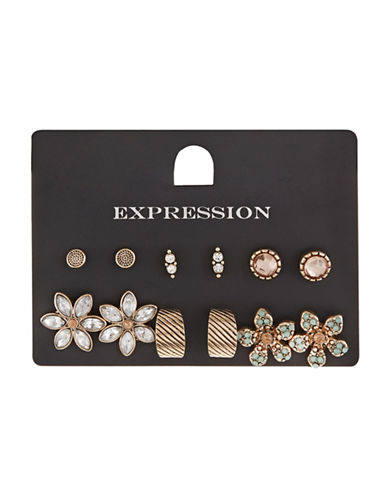 Expression Six-Pack Assorted Flower Earrings-ASSORTED-One Size