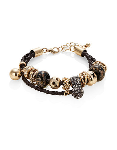 Expression Two-Row Braided Multi Charm Bracelet-BROWN-One Size