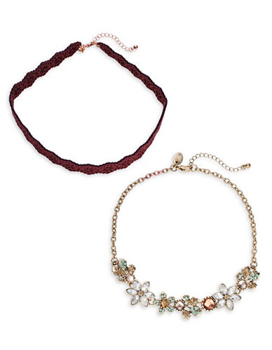 Expression Filigree Fabric, Floral Cluster Choker Necklaces Two-Piece Set-ASSORTED-One Size