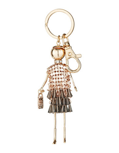 Expression Lady Dangly Beads Dress and Purse Keychain-ROSE GOLD-One Size