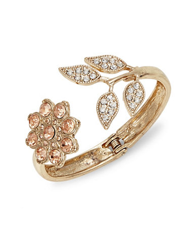 Expression Floral Teardrop Hinged Cuff-ORANGE-One Size
