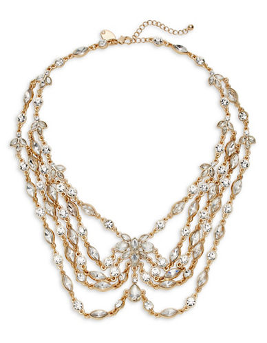 Expression Multi-Row Teardrop Bib Necklace-GOLD-One Size