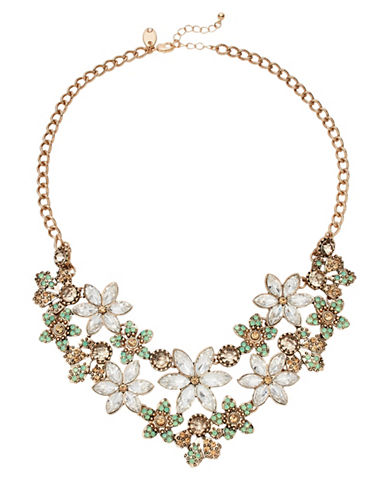 Expression Multi-Flower Statement Necklace-GREEN-One Size