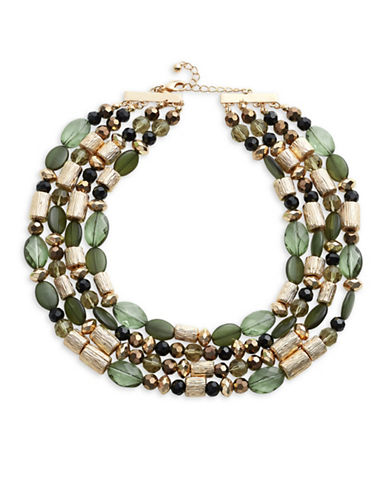 Expression Three-Row Cylinder Bead Layered Necklace-GREEN-One Size