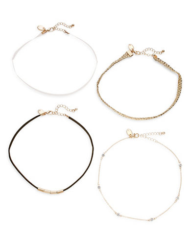 Expression Mixed-Media Choker Necklaces Four-Piece Set-ASSORTED-One Size