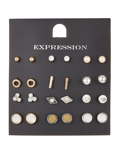 Expression 12-Piece Assorted Stud Earrings Set-ASSORTED-One Size