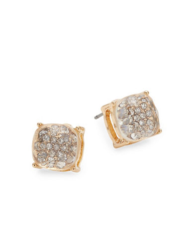 Expression Crystal Goldtone Stud Earrings-GOLD-One Size