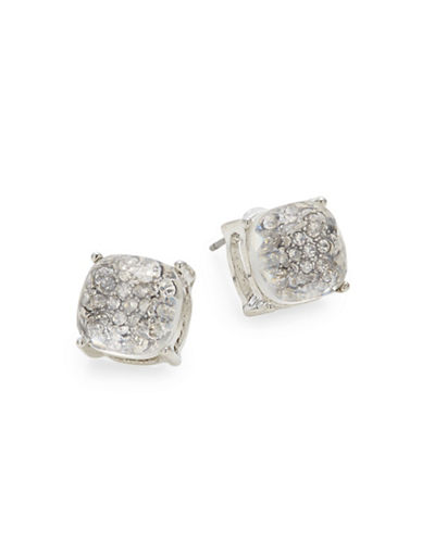 Expression Crystal Silvertone Stud Earrings-SILVER-One Size