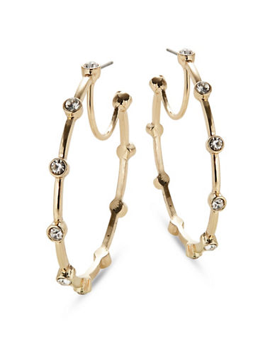 Expression Surround Stones Hoop Earrings-GOLD-One Size